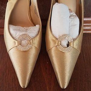 Beautiful gold slip on heels